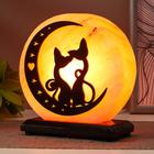 "Salt lamp with dimmer ""Big pattern Cats on the moon"" E14 15W 2-3 kg Himal. salt 15х8х17 with"