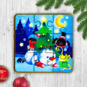 """Games on the road. Puzzle """"Snowman and bullfinches"""", П306"""