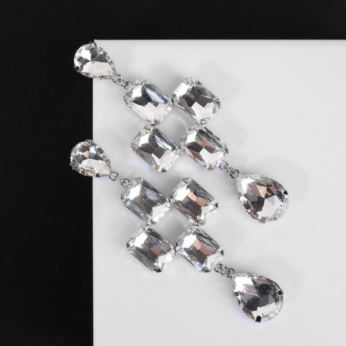"""Серьги висячие со стразами """"Иллюзион"""" узор, цвет белый в серебре - фото 494550"""