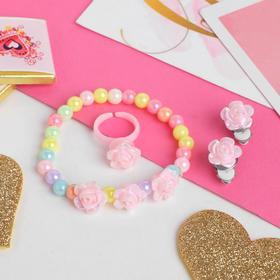 "A set of children's ""Vibracula"" 3 items: clip-on earrings, bracelet, ring, roses, color"