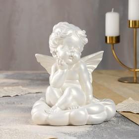 "Статуэтка ""Ангел мечтающий"", перламутр, 21 см"