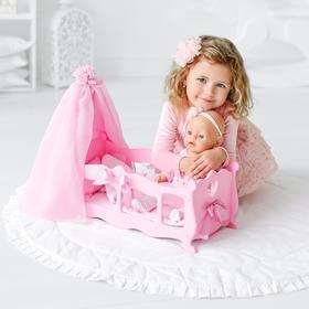Кроватка для кукол с постельным бельем и балдахином, коллекция «Diamond princess» розовый