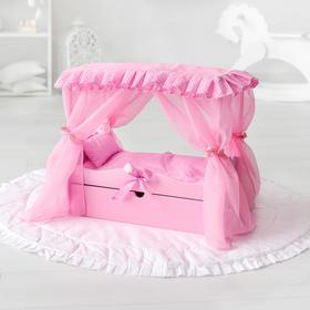Игрушка детская: кроватка с царским балдахином, постельным бельем и выдвижным ящиком, цвет розовый