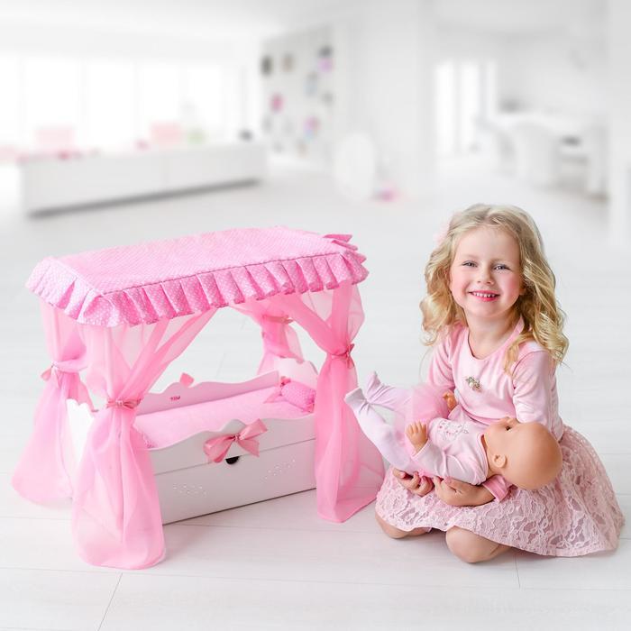 Игрушка детская: кроватка с царским балдахином, постельным бельем и выдвижным ящиком, цвет белый - фото 930704