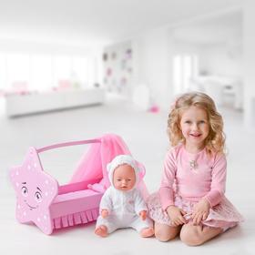 Игрушка детская: кроватка для кукол звездочка с постельным бельем и балдахином, коллекция «Diamond star»