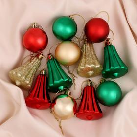 """Set of 30 PCs plastic urkainy """"Masquerade"""" (18 balls, 12 bell.) red, green, gold"""