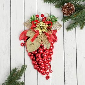 """Christmas ornament """"Bunch of grapes with a flower"""" 14х22 cm"""