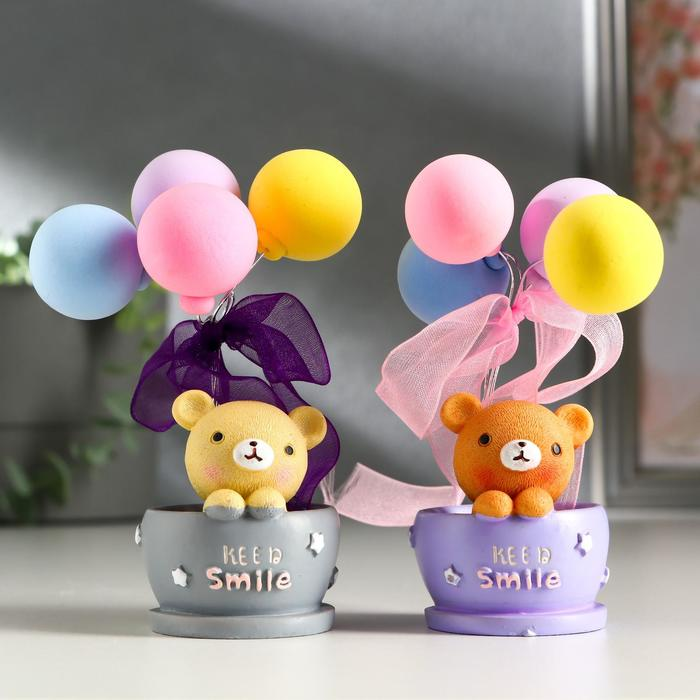 """Сувенир полистоун """"Мишка в кружке с воздушными шариками""""  МИКС 11,7х6х6 см"""