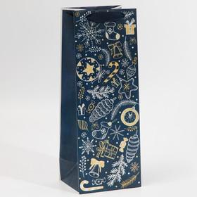 Пакет под бутылку Happy New Year, 13 × 36 × 10 см