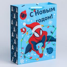"""Пакет ламинат вертикальный """"С Новым годом!"""", 31х40х11 см, Человек-Паук"""