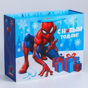 """Пакет новогодний """"С Новым годом!"""", 49 x 40 x 19 см, Человек-Паук"""