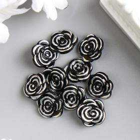 A decorative button rose black silver 13 mm