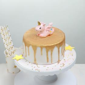 Топпер для торта «Единорог» 8,7×3,5×7 см, цвет розовый