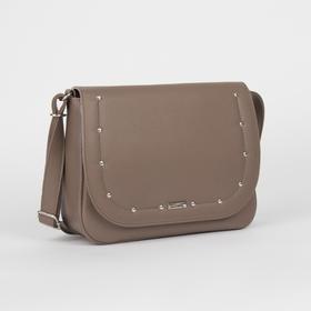 Сумка женская, отдел на клапане, наружный карман, длинный ремень, цвет светло-коричневый