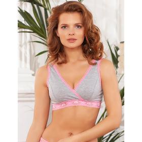 Топ Carolina, цвет серый меланж/розовый, размер 80-B