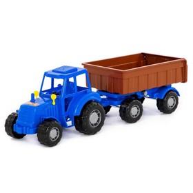 Трактор с прицепом №1, цвет синий (в сеточке)