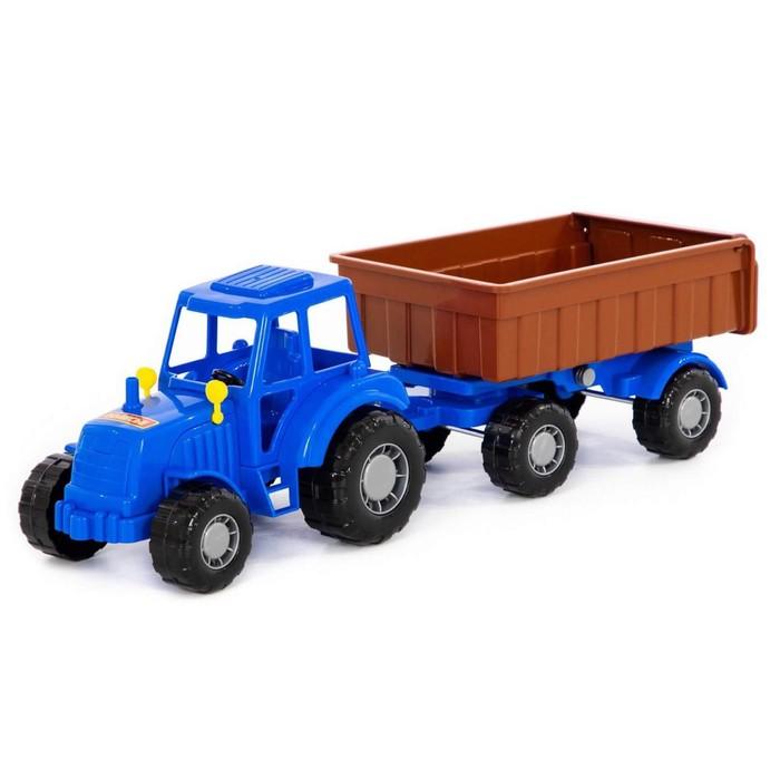 Трактор с прицепом №1, цвет синий (в сеточке) - фото 76563041