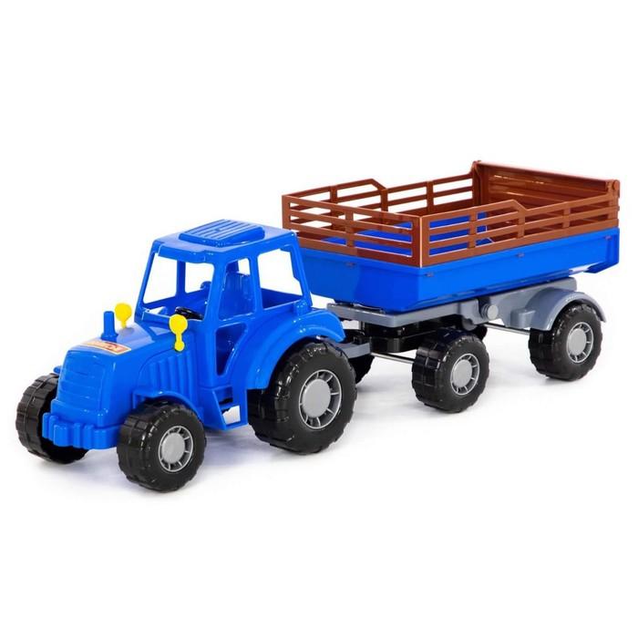 Трактор с прицепом №2, цвет синий (в сеточке) - фото 76563046