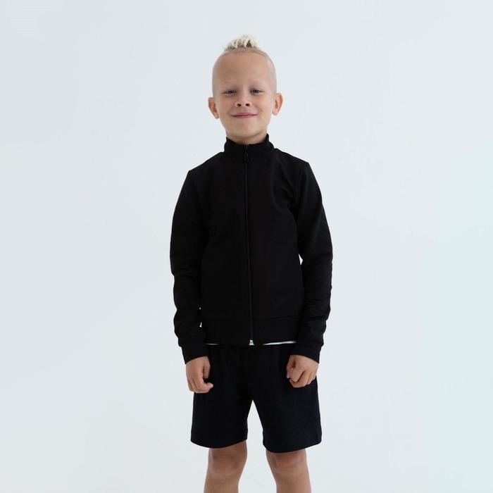 Толстовка для мальчика цвет чёрный, рост 122 - фото 76477618