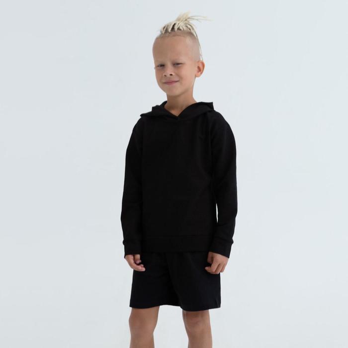 Худи детское, цвет чёрный, рост 140 - фото 105694650