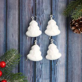 "Decoration of Christmas ""Snow Christmas trees"" (set 4 pieces) 4 cm"