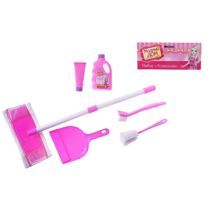 Набор игровой «Хозяюшка», 6 предметов: средство для уборки - 2 шт, совок, щётка, ёршик, швабра (высота 52 см)