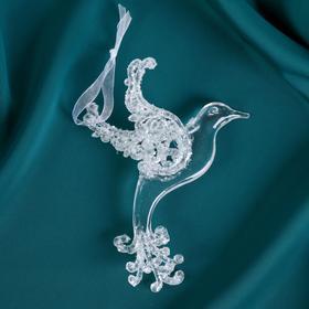 "Christmas ornament ""Dove - flickering"" 8х13 cm silver"
