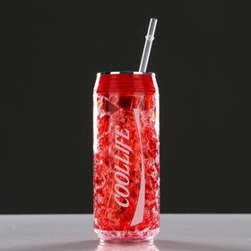 Cooling glass 300 ml Coollife, keeps cold 2 hours, 7h18.5 cm, red.