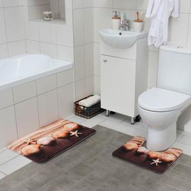 Набор ковриков для ванны и туалета Доляна «Ракушки», 2 шт: 45×70, 39×45 см