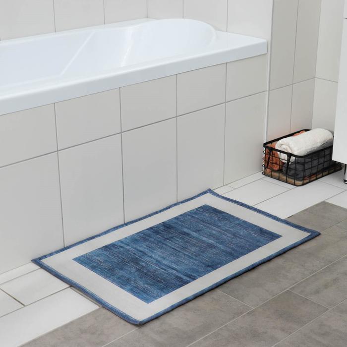 Коврик «По домашнему» , 50×80 см, цвет синий - фото 4652834