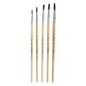 Набор кистей пони круглые 5 штук (№1,2,3,4,5) с деревянными ручками