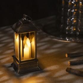 """Фигура светодиодная """"Фонарь цвет бронза с тремя свечами"""", 13х5.5х5.5 см, бат.3хLR44, Т/БЕЛЫЙ"""