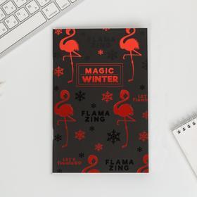 Тетрадь с чёрными листами Magic winter, А6, 32 листа