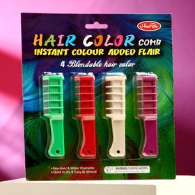 Мелки для волос с насадкой, набор 4 цвета