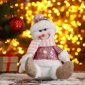 """Мягкая игрушка """"Снеговик-шарфик в клетку"""" 17х21 см, розовый"""