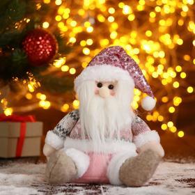 """Мягкая игрушка """"Дед Мороз-колпак в пайетках"""" 17х21 см, розовый"""