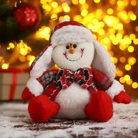 """Мягкая игрушка """"Снеговик-красные цветочки"""" 11х19 см"""