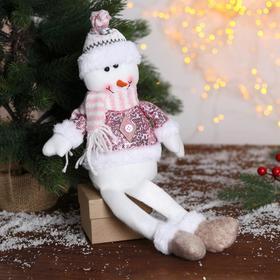 """Мягкая игрушка """"Снеговик в розовых пайетках-длинные ножки"""" 11х37 см"""