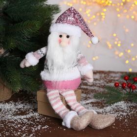 """Мягкая игрушка """"Дед Мороз в розой шапочке-длинные ножки"""" 11х37см"""