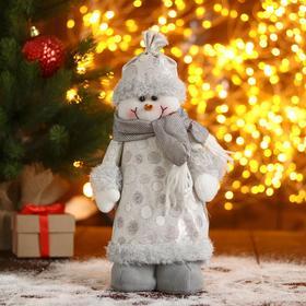 """Мягкая игрушка """"Снеговик-шубка с кружочками"""" 15х30 см, серебро, стоит"""