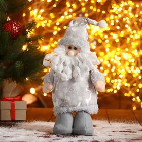 "Мягкая игрушка ""Дед Мороз-шубка с кружочками"" 15х30 см, серебро, стоит"