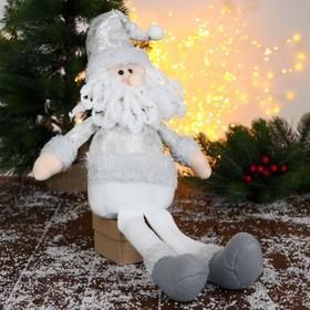 """Мягкая игрушка """"Дед Мороз в шапочке с кружочками-длинные ножки"""" 15х45 см, серебро"""