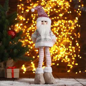 """Мягкая игрушка """"Дед Мороз в розовом-длинные ножки"""" 12х40см"""