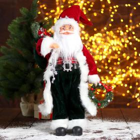 """Дед Мороз """"В красной шубке с новогодним венком"""" 24х45 см"""