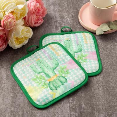 """Kuh. set of 2 St. Share """"Cactus""""color.green, com. 17*17 cm - 2 PCs,100% p/e"""