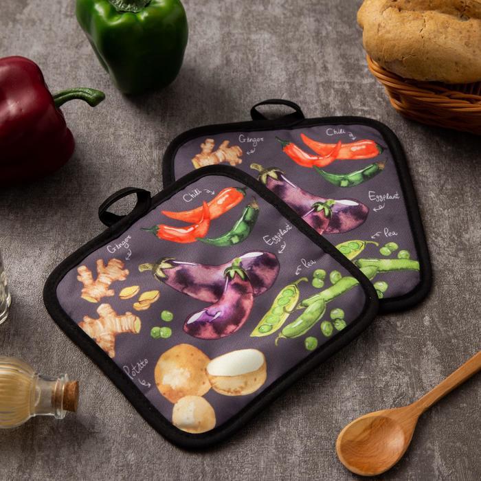 "Kuh. set of 2 St. Dolyana ""Vegetables"", prikh. 17*17 cm - 2 PCs,100% p/e"