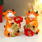 "Souvenir Polyresin ""Bull with a bag of gold coins"" MIX 4,8x3,2x3,5 cm"