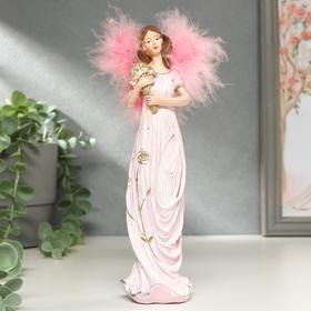 """Сувенир полистоун """"Ангел-девушка в розовом платье, с букетом"""" крылья пух 21,5х5,5х5,7 см"""
