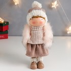 "Interior doll ""Girl in a fur waistcoat and a hat with a pompom"" 29,5х9х18 cm"