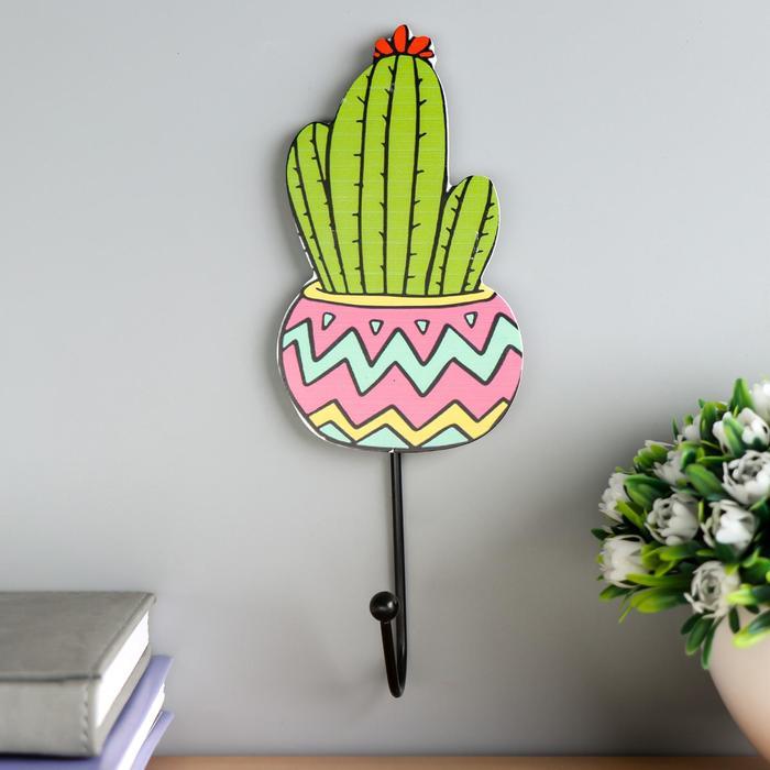"""Крючок декоративный дерево """"Цветущий кактус""""  21,5х8х4,5 см - фото 849236"""